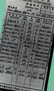 Фото тренировочного дневника Брюса Ли