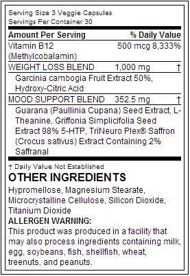 Top Secret Nutrition Garcinia Cambogia Extract With Positive Mood - состав