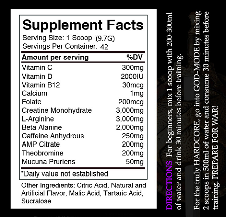 Centurion Labz God Of War Black - Supplement Facts