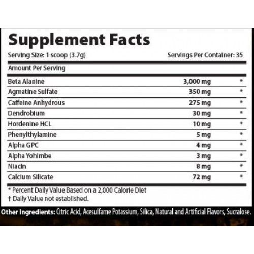 Xcel Sport Nutrition - Crackhead - Supplement Facts
