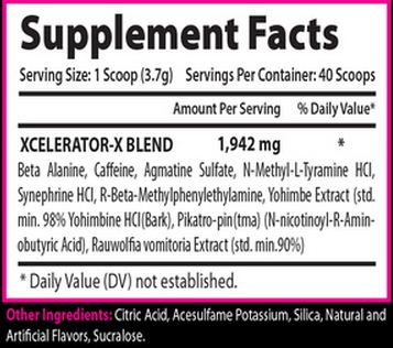 Xcel Sports Nutrition's - Xcelerator - Supplement Facts