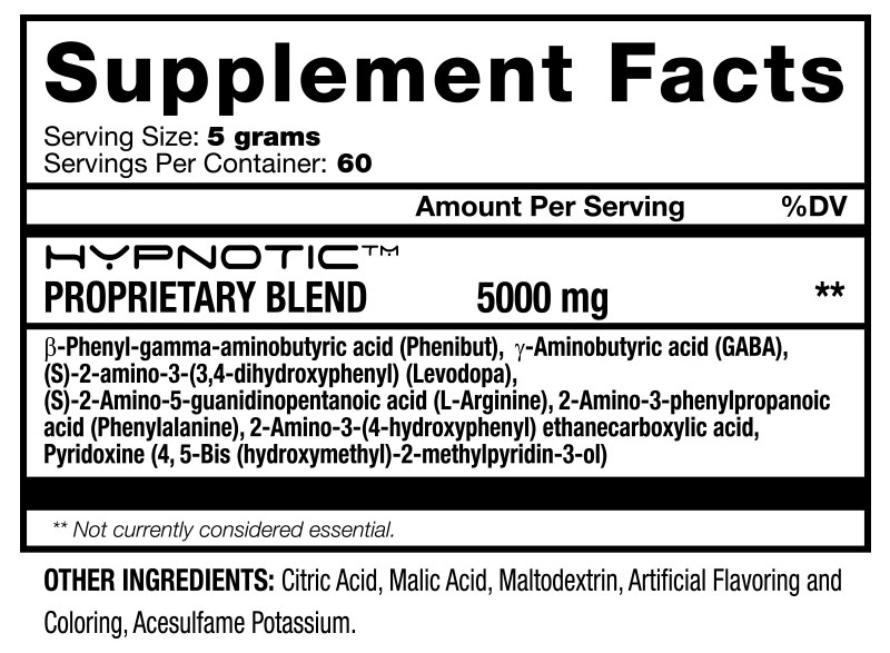 Chaotic Labz - Hypnotic - Supplement Facts