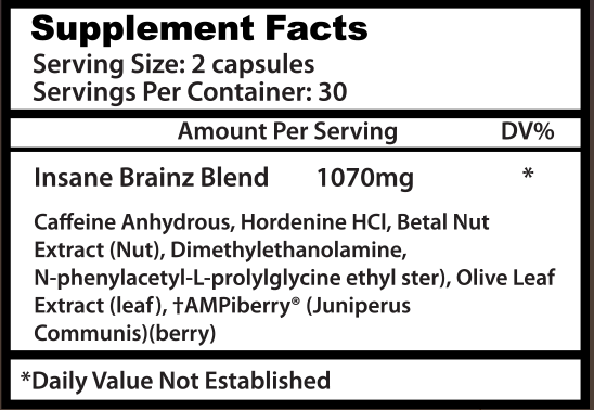 Insane Labz - Insane Brainz - Supplement Facts